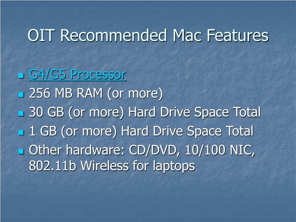 OIT Recommended Mac Features