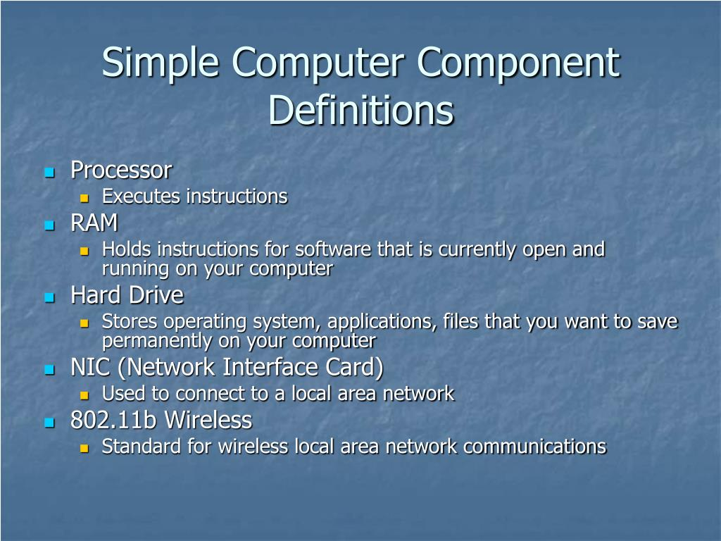 Simple Computer Component Definitions