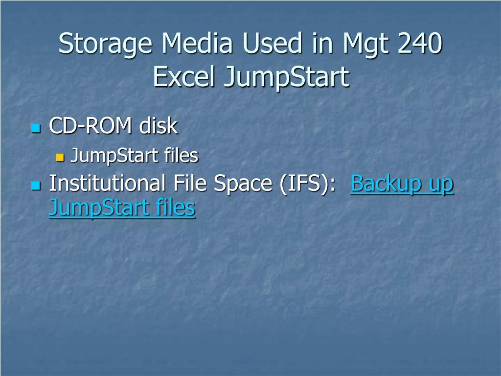 Storage Media Used in Mgt 240 Excel JumpStart