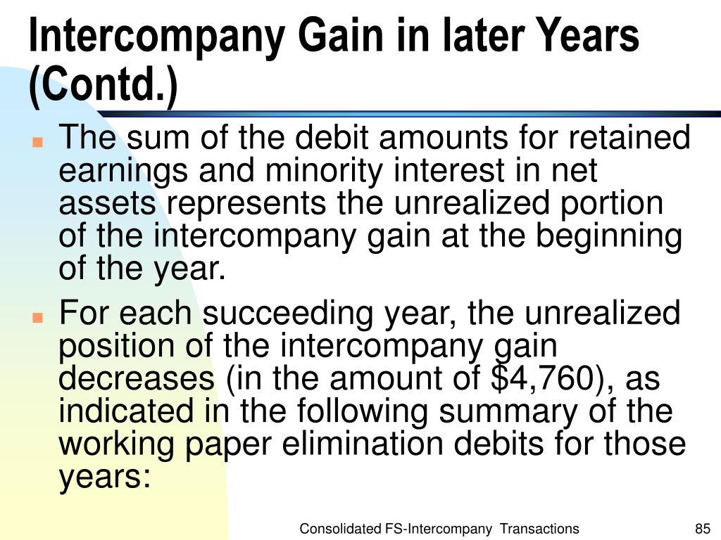 Intercompany Gain in later Years (Contd.)