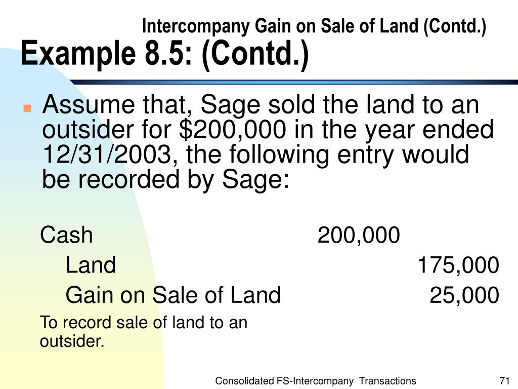 Intercompany Gain on Sale of Land (Contd.)
