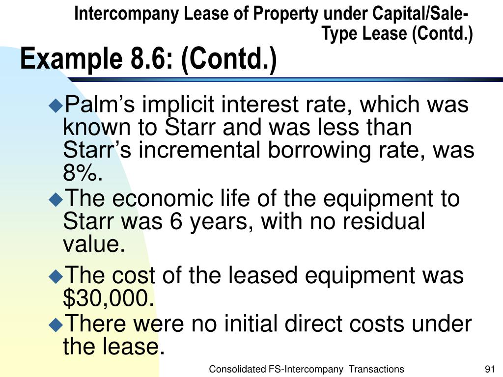 Intercompany Lease of Property under Capital/Sale-Type Lease (Contd.)