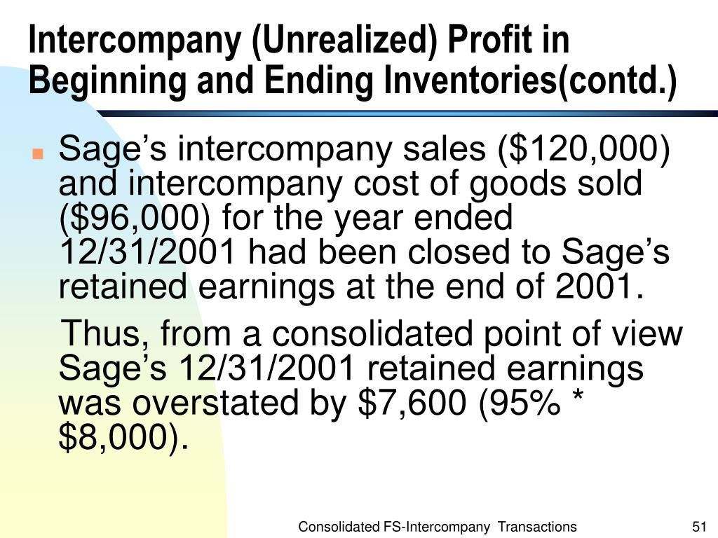 Intercompany (Unrealized) Profit in Beginning and Ending Inventories(contd.)