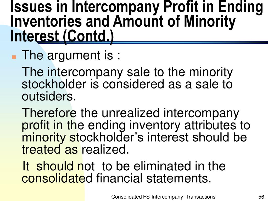 Issues in Intercompany Profit in Ending Inventories and Amount of Minority Interest (Contd.)