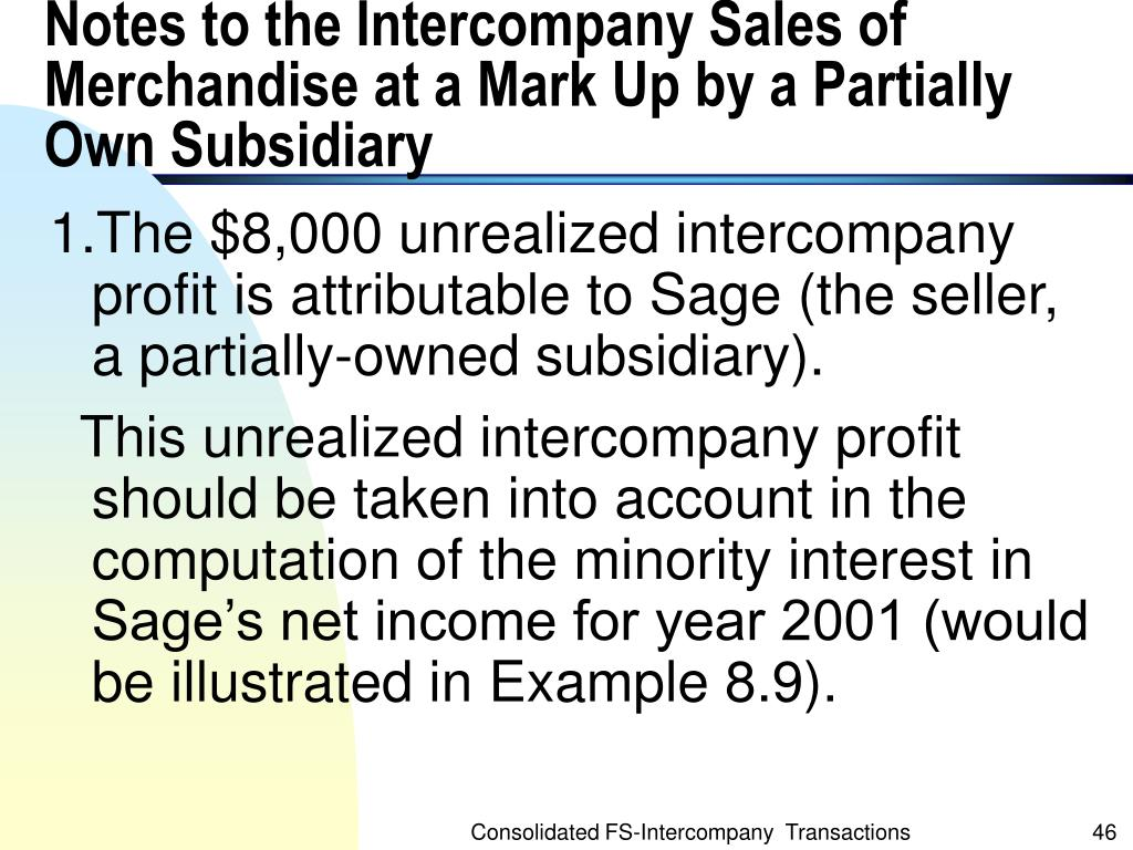Notes to the Intercompany Sales of Merchandise at a Mark Up by a Partially Own Subsidiary