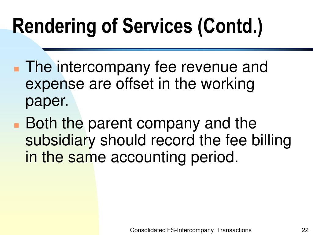 Rendering of Services (Contd.)