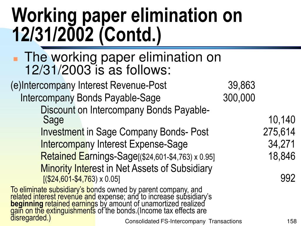 Working paper elimination on 12/31/2002 (Contd.)