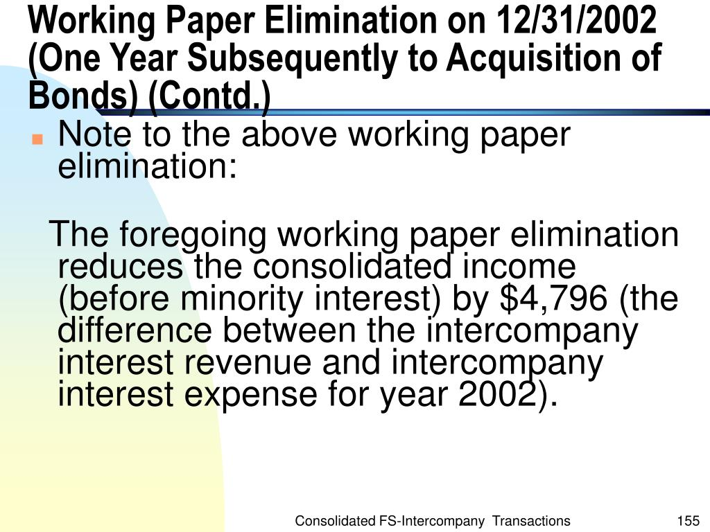 Working Paper Elimination on 12/31/2002 (One Year Subsequently to Acquisition of Bonds) (Contd.)