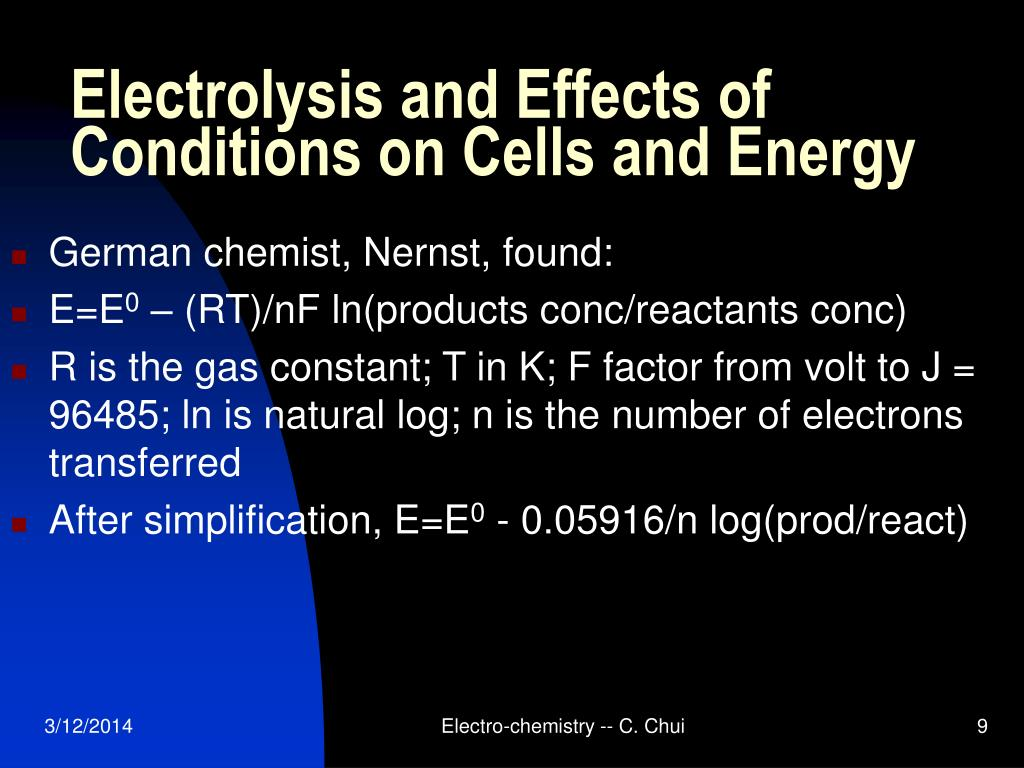 Electrolysis and Effects of Conditions on Cells and Energy