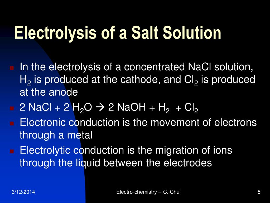 Electrolysis of a Salt Solution