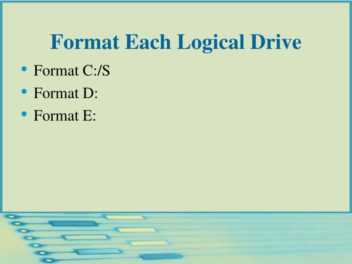 Format Each Logical Drive
