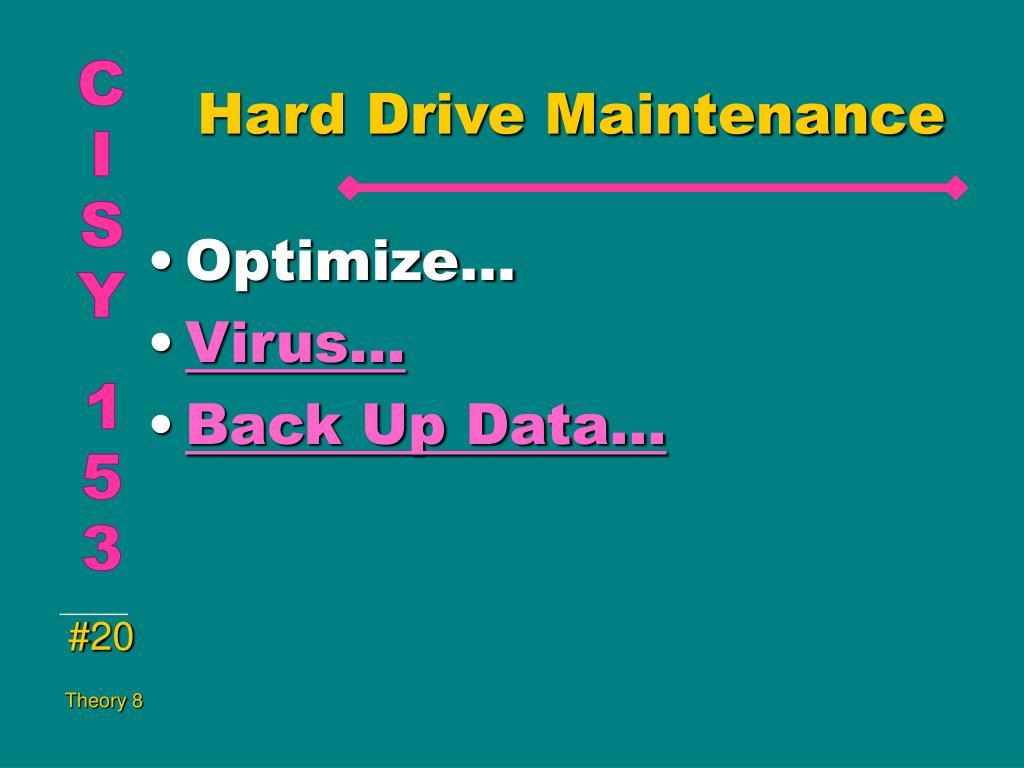 Hard Drive Maintenance