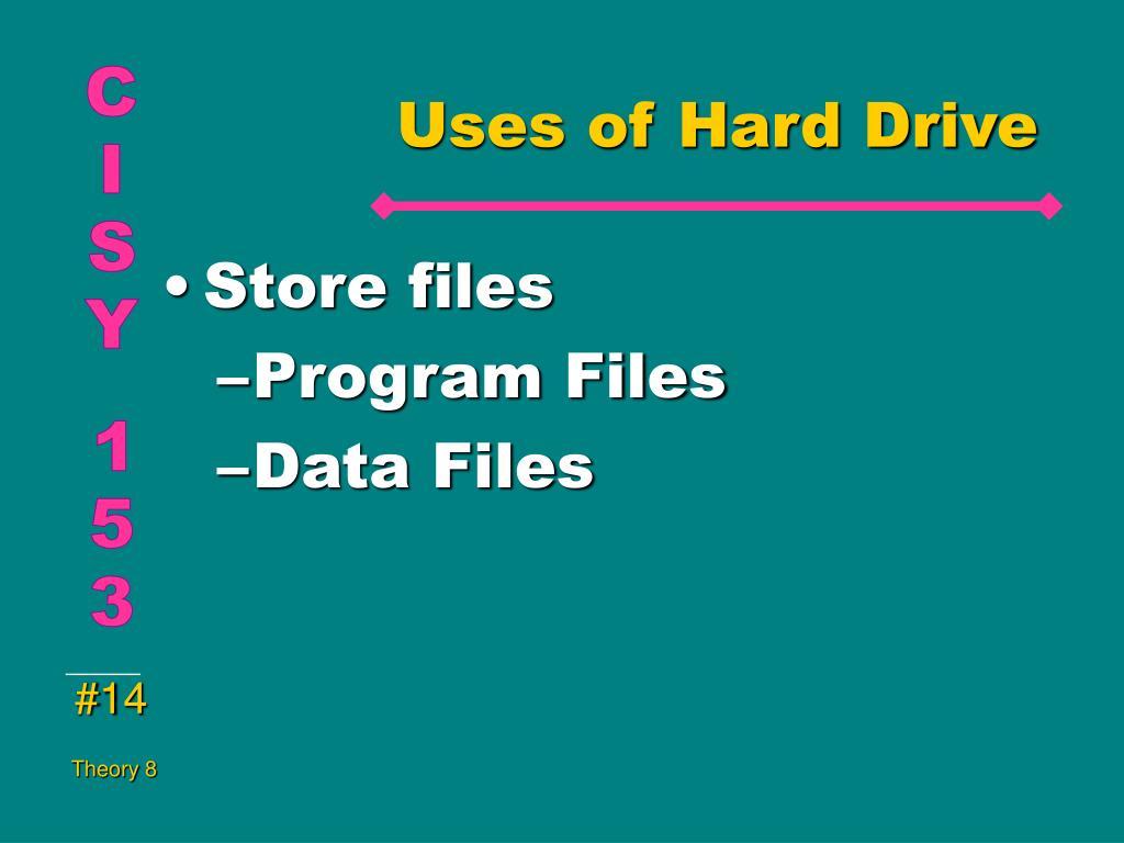 Uses of Hard Drive