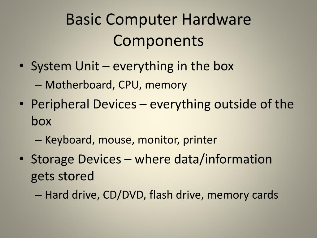 Basic Computer Hardware Components