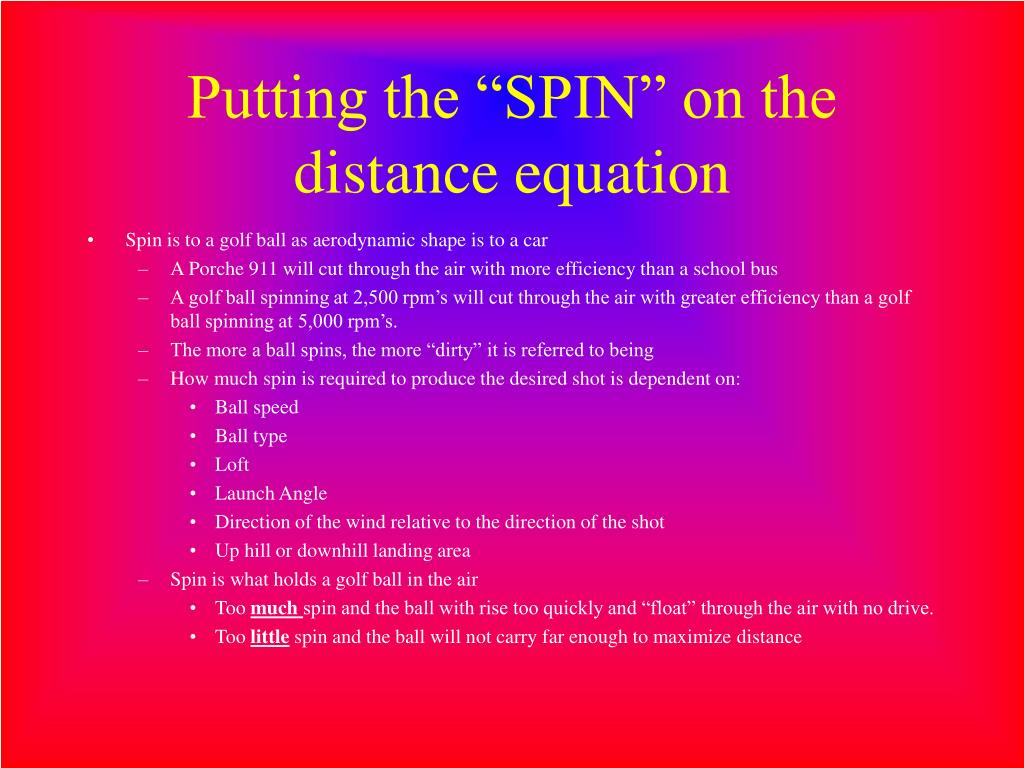 "Putting the ""SPIN"" on the distance equation"