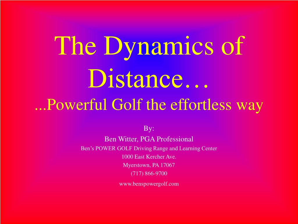 The Dynamics of Distance…