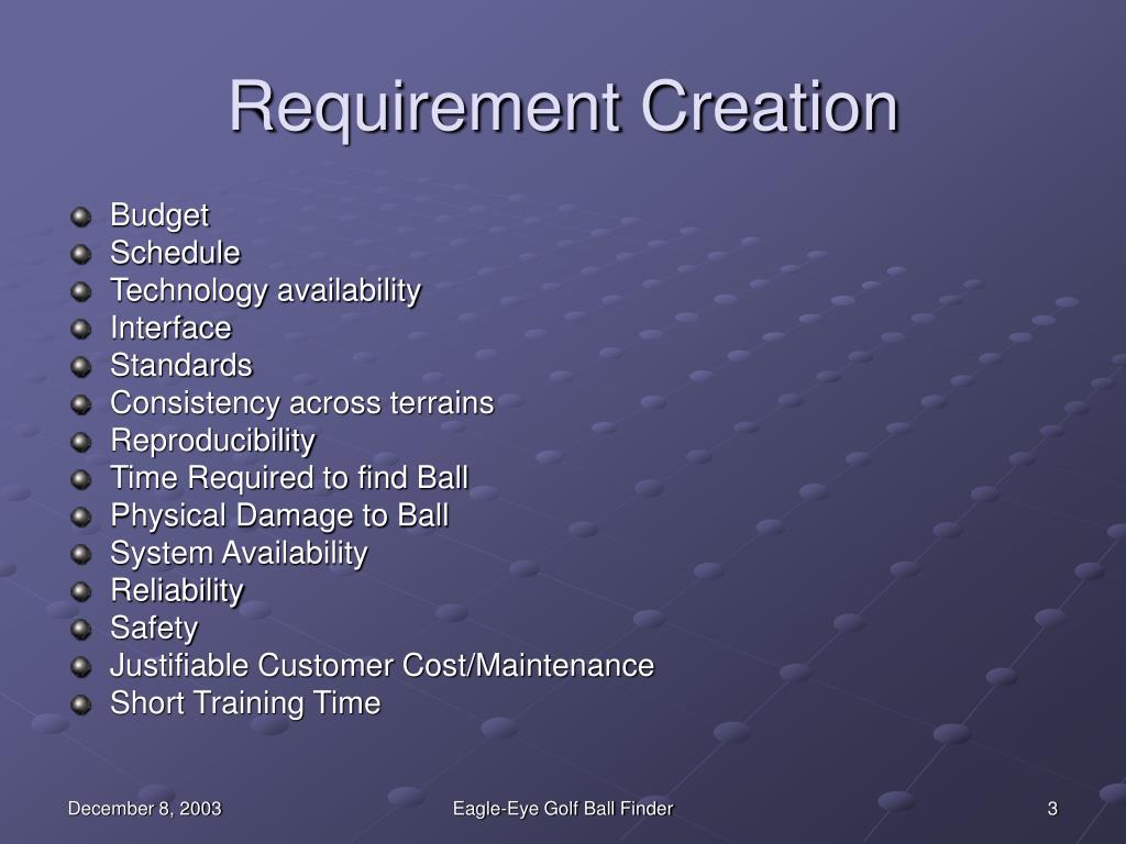 Requirement Creation