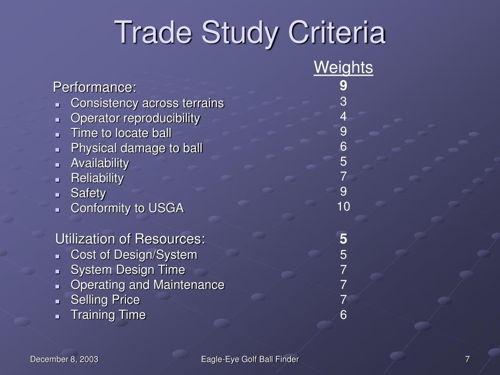 Trade Study Criteria
