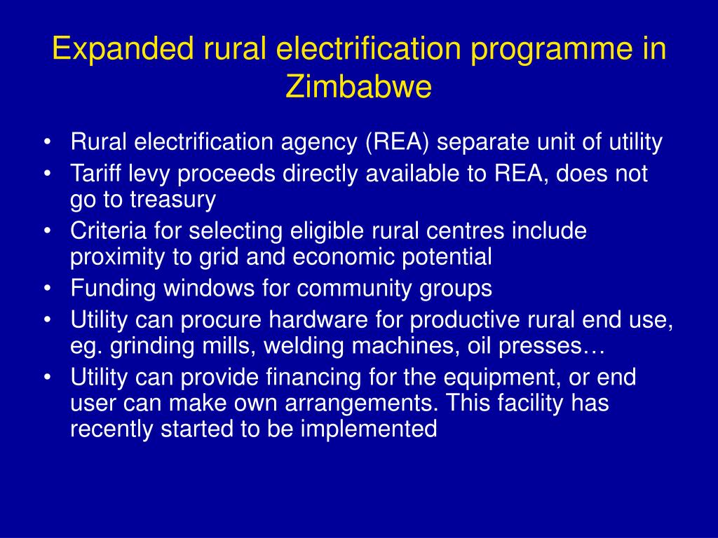 Expanded rural electrification programme in Zimbabwe