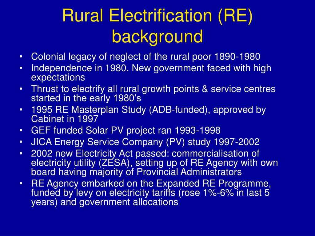 Rural Electrification (RE) background