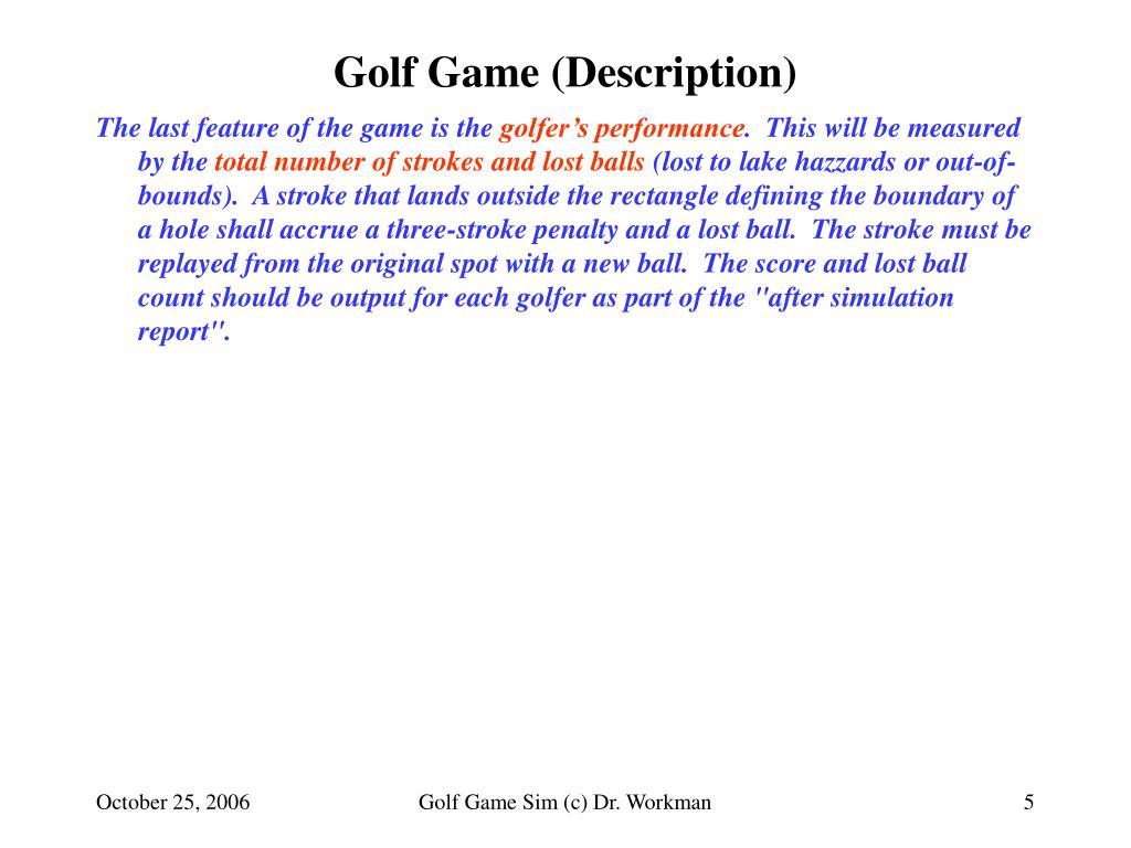 Golf Game (Description)