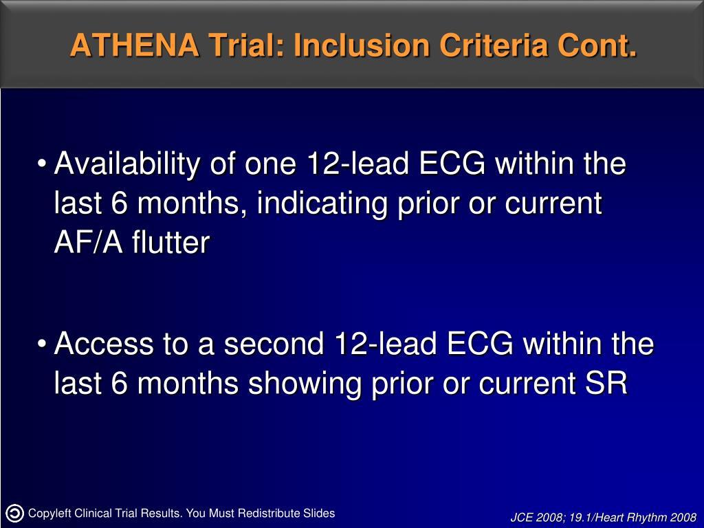 ATHENA Trial: Inclusion Criteria Cont.