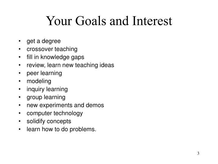 Your goals and interest
