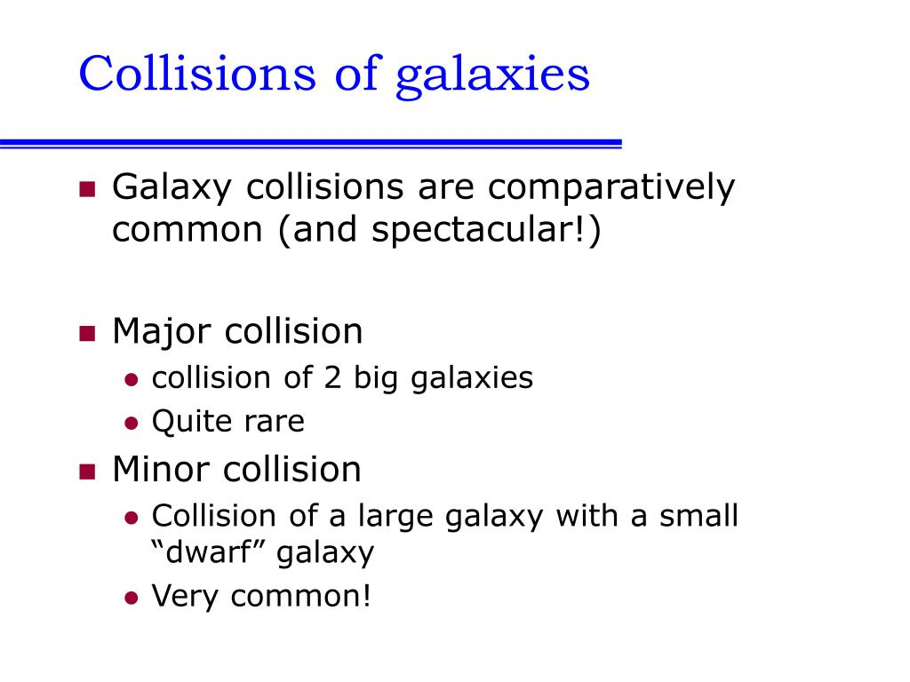 Collisions of galaxies
