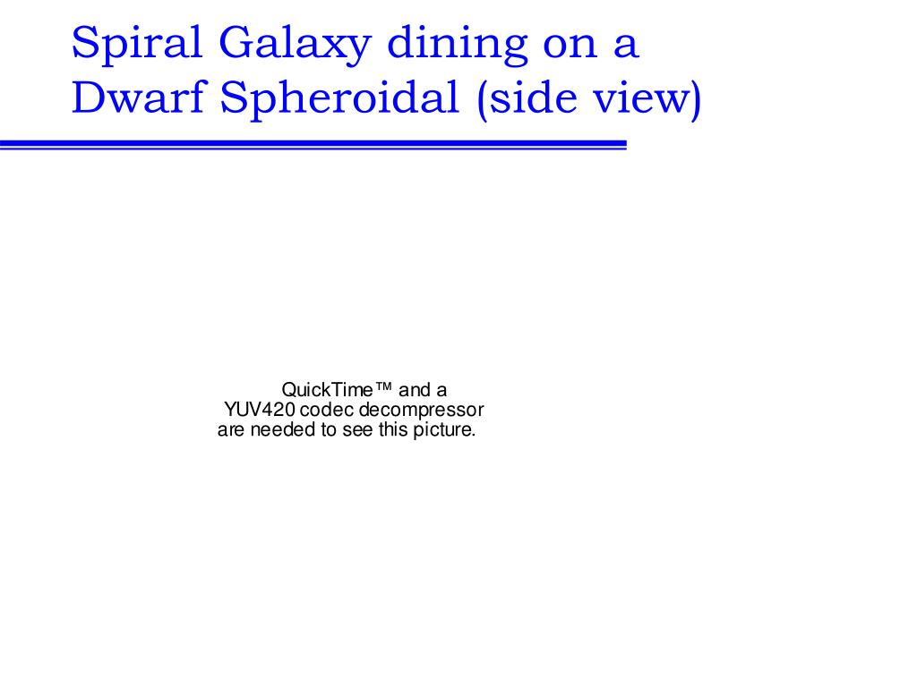 Spiral Galaxy dining on a Dwarf Spheroidal (side view)