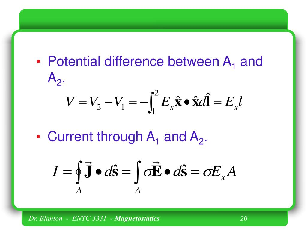 Potential difference between A
