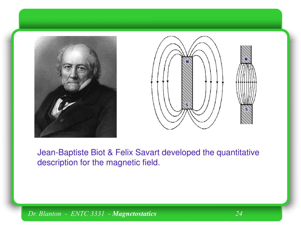 Jean-Baptiste Biot & Felix Savart developed the quantitative description for the magnetic field.