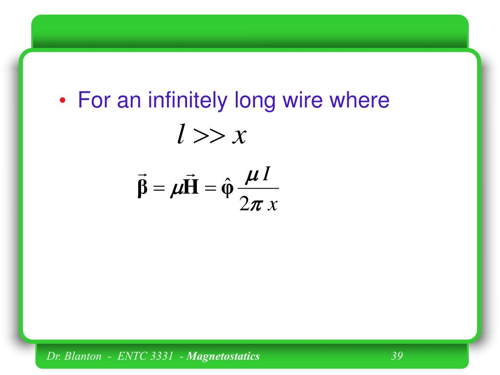 For an infinitely long wire where