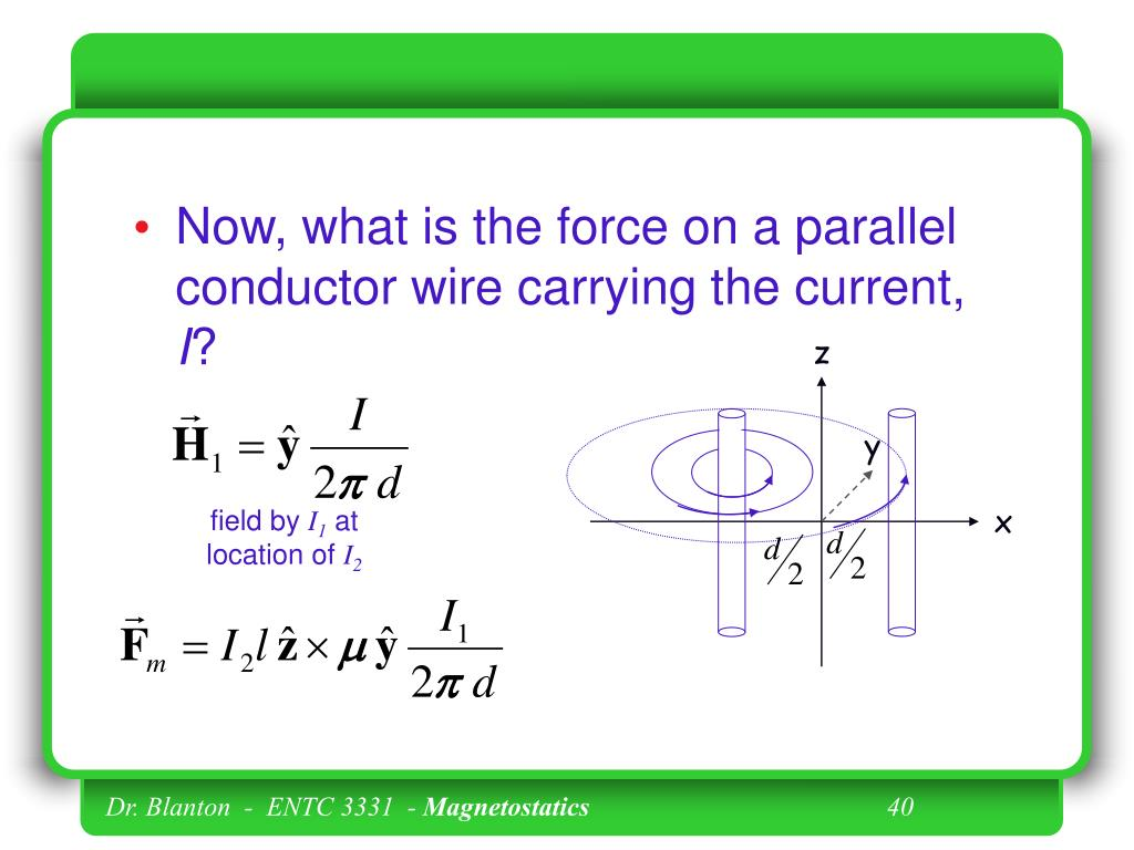 Now, what is the force on a parallel conductor wire carrying the current,
