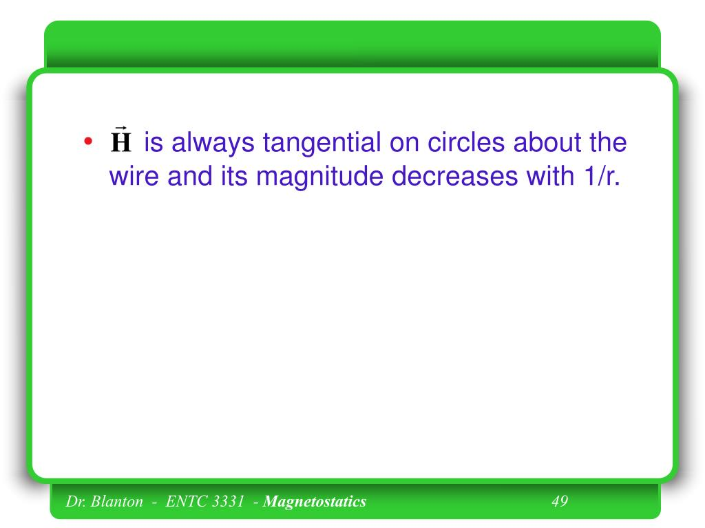 is always tangential on circles about the wire and its magnitude decreases with 1/r.