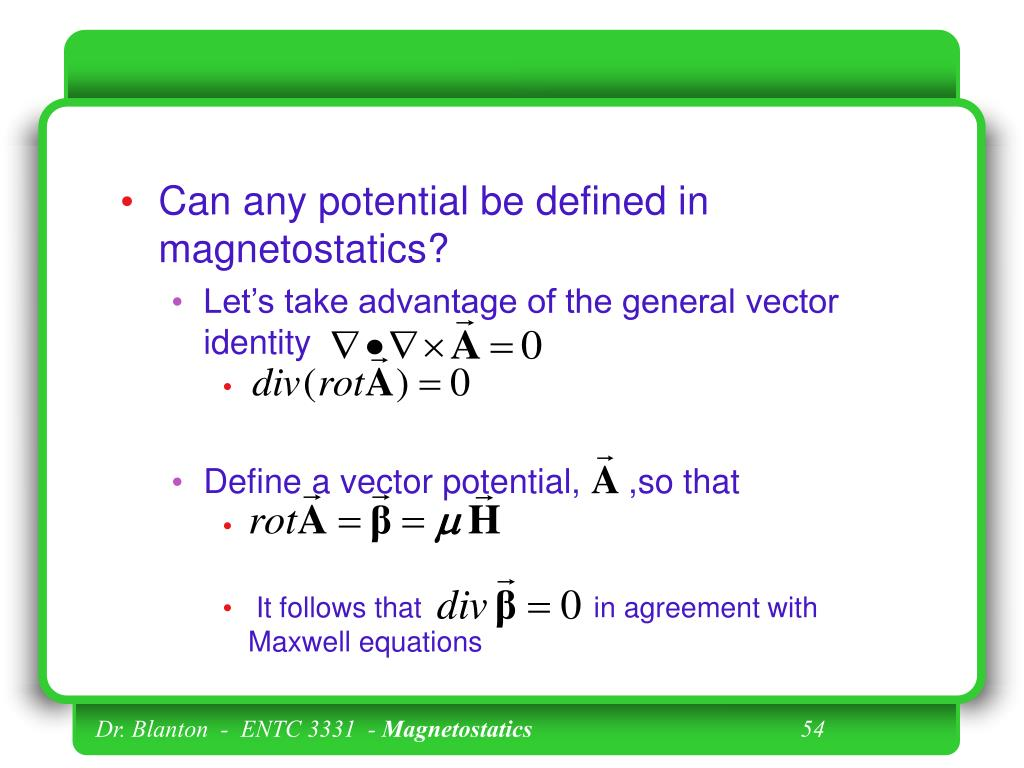 Can any potential be defined in magnetostatics?