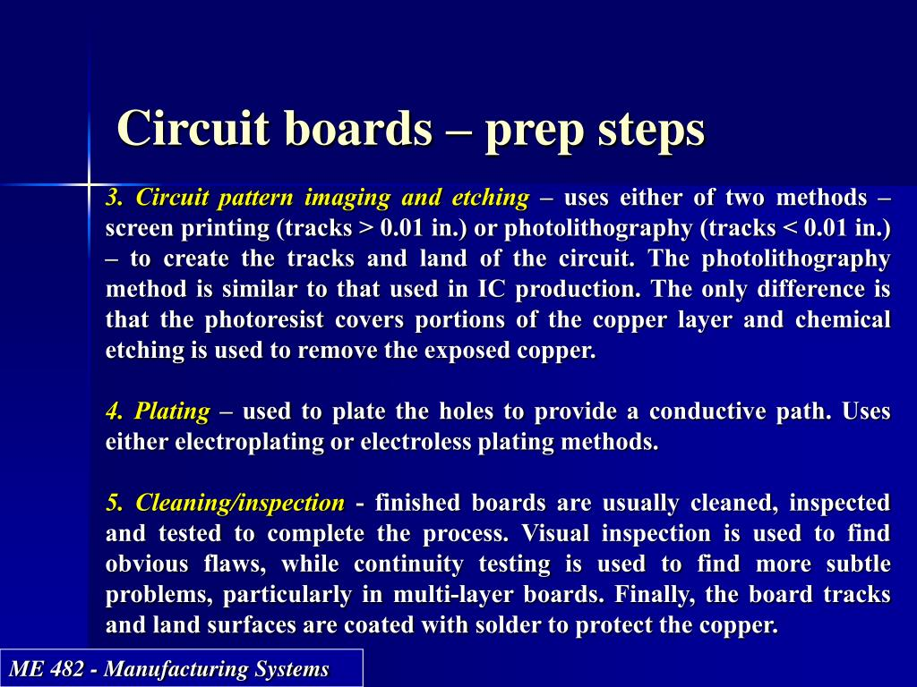 Circuit boards – prep steps