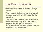 clean claim requirements