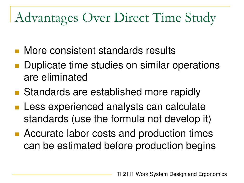Advantages Over Direct Time Study