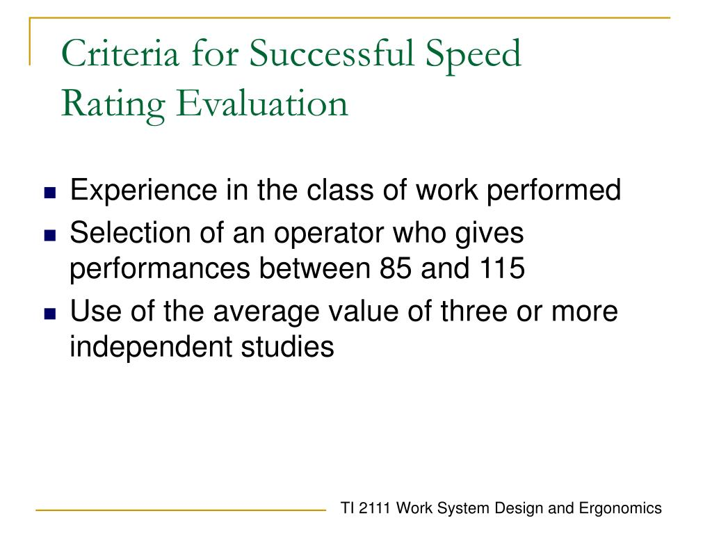 Criteria for Successful Speed