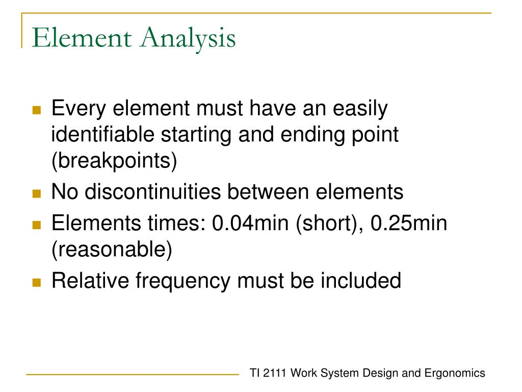 Element Analysis