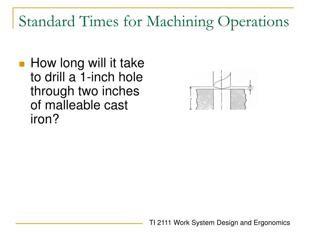 Standard Times for Machining Operations