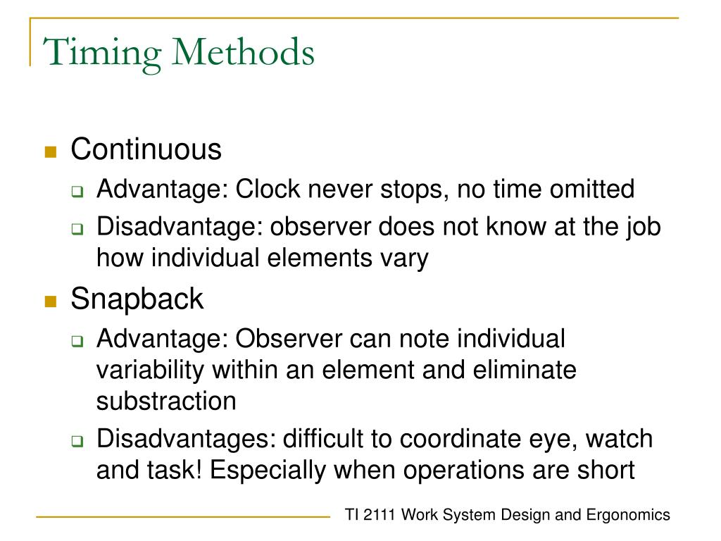 Timing Methods
