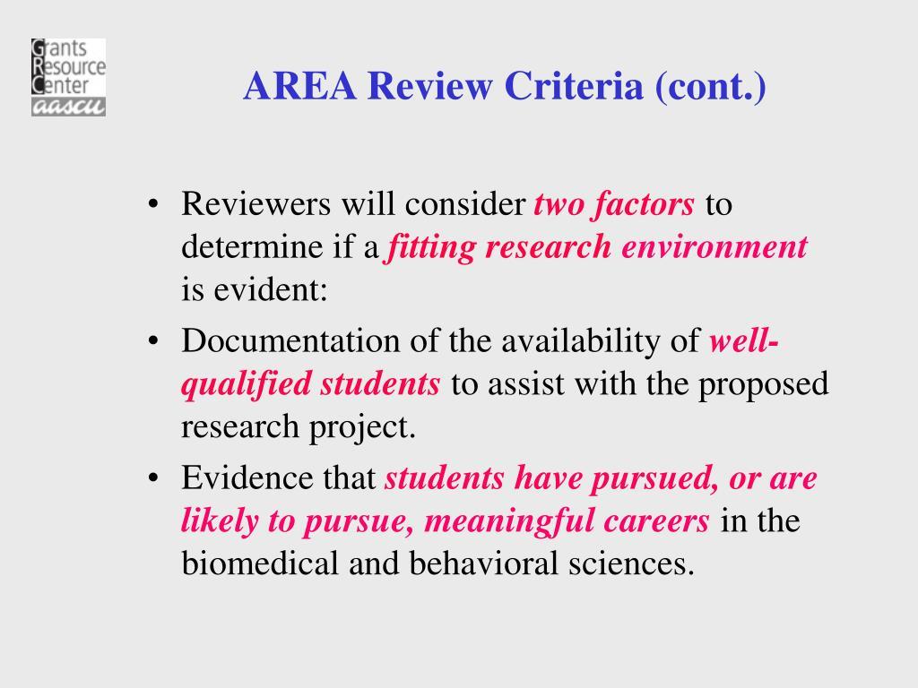AREA Review Criteria (cont.)