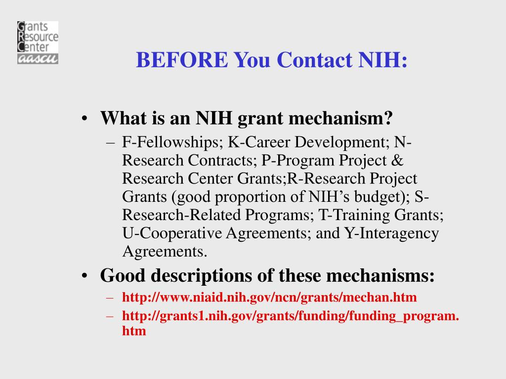 BEFORE You Contact NIH: