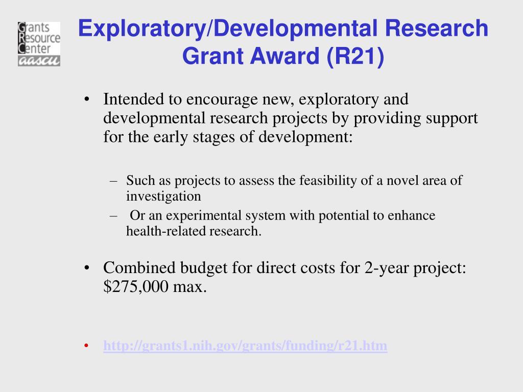 Exploratory/Developmental Research Grant Award (R21)