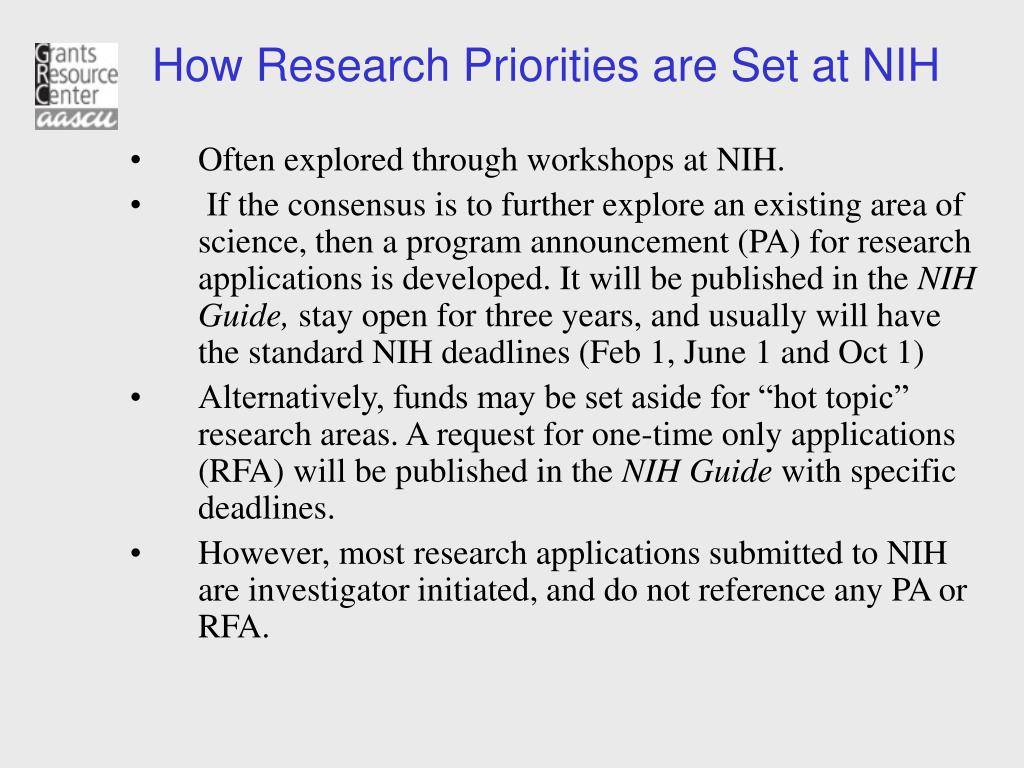 How Research Priorities are Set at NIH