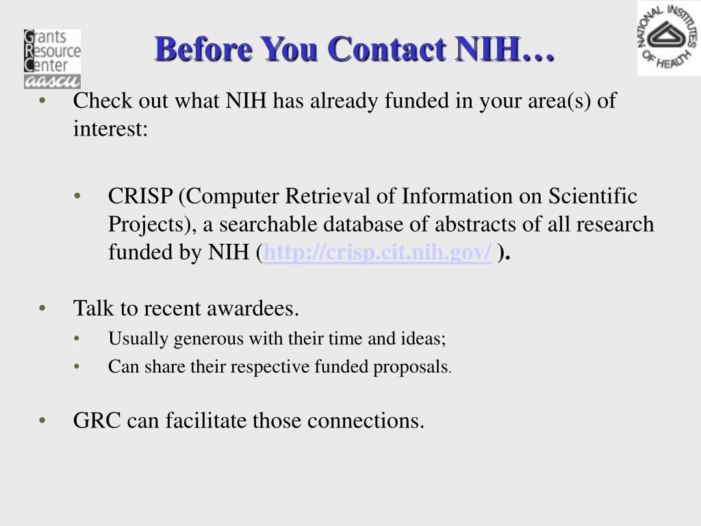 Before You Contact NIH…