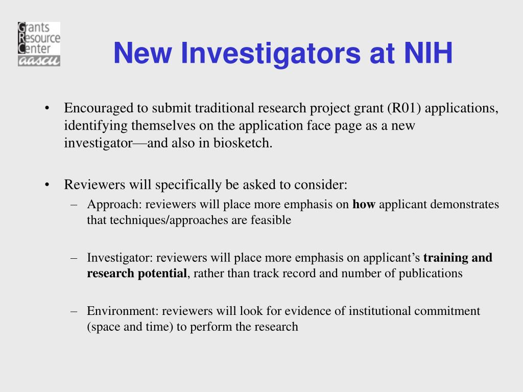 New Investigators at NIH