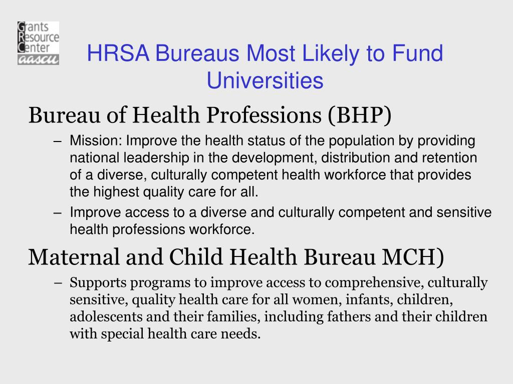 HRSA Bureaus Most Likely to Fund Universities