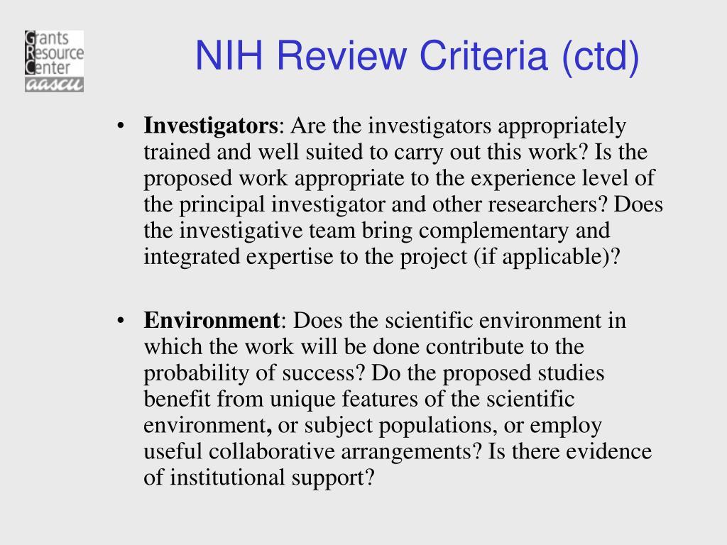 NIH Review Criteria (ctd)